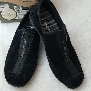Merrell Sz 8 Black Barrado Leather Hiking Shoes